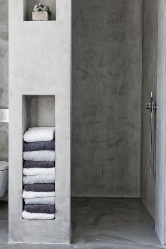 betonstuc in badkamer, schimmeldodend, makkelijk schoon te houden